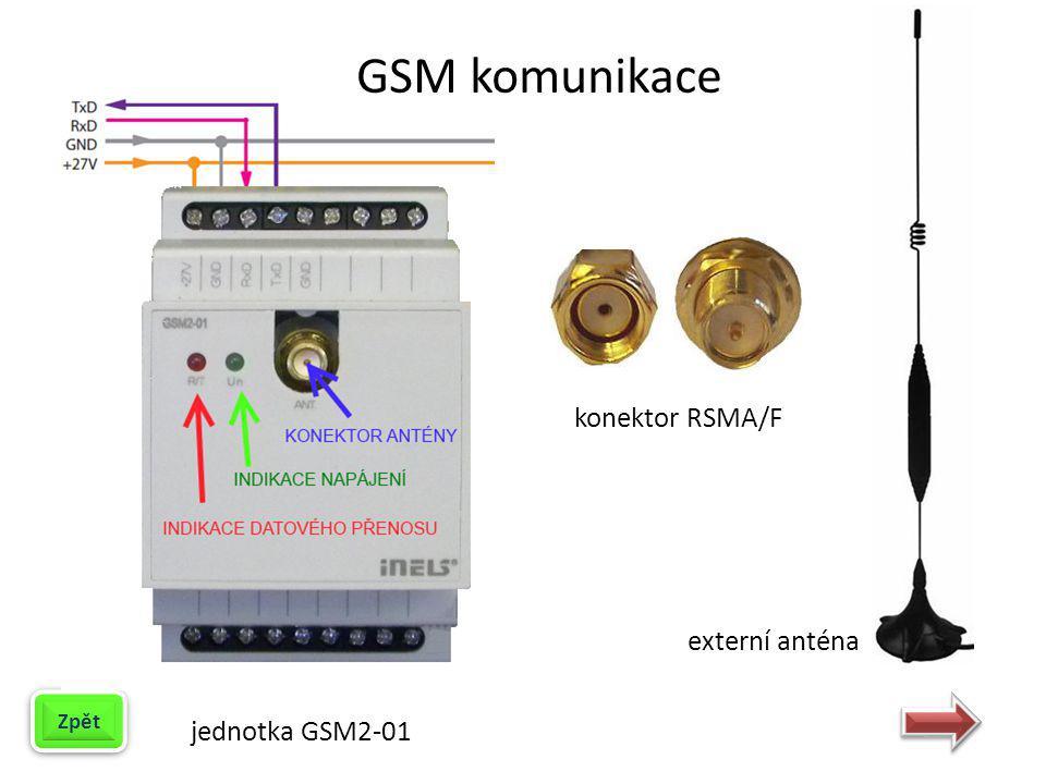 GSM komunikace konektor RSMA/F externí anténa Zpět jednotka GSM2-01