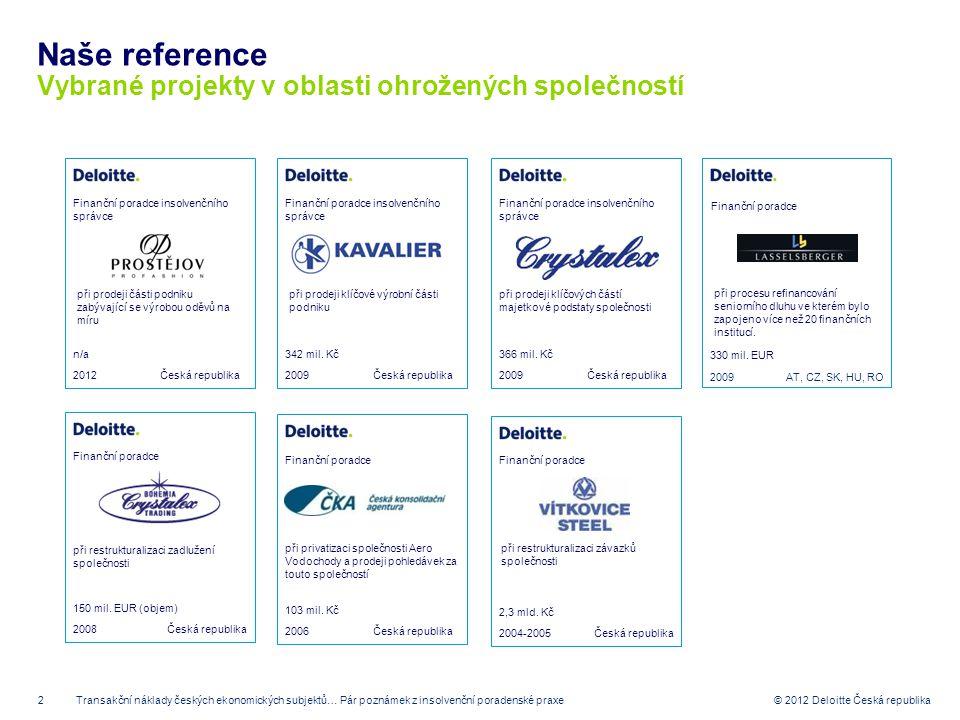 Naše reference Vybrané projekty v oblasti ohrožených společností 2012
