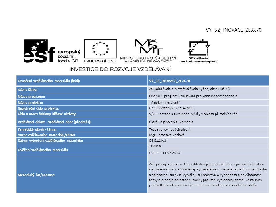 VY_52_INOVACE_ZE.8.70 Označení vzdělávacího materiálu (kód):