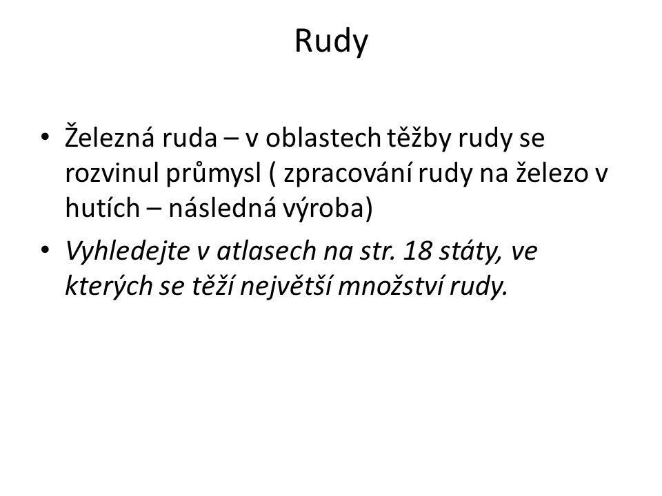 Rudy Železná ruda – v oblastech těžby rudy se rozvinul průmysl ( zpracování rudy na železo v hutích – následná výroba)