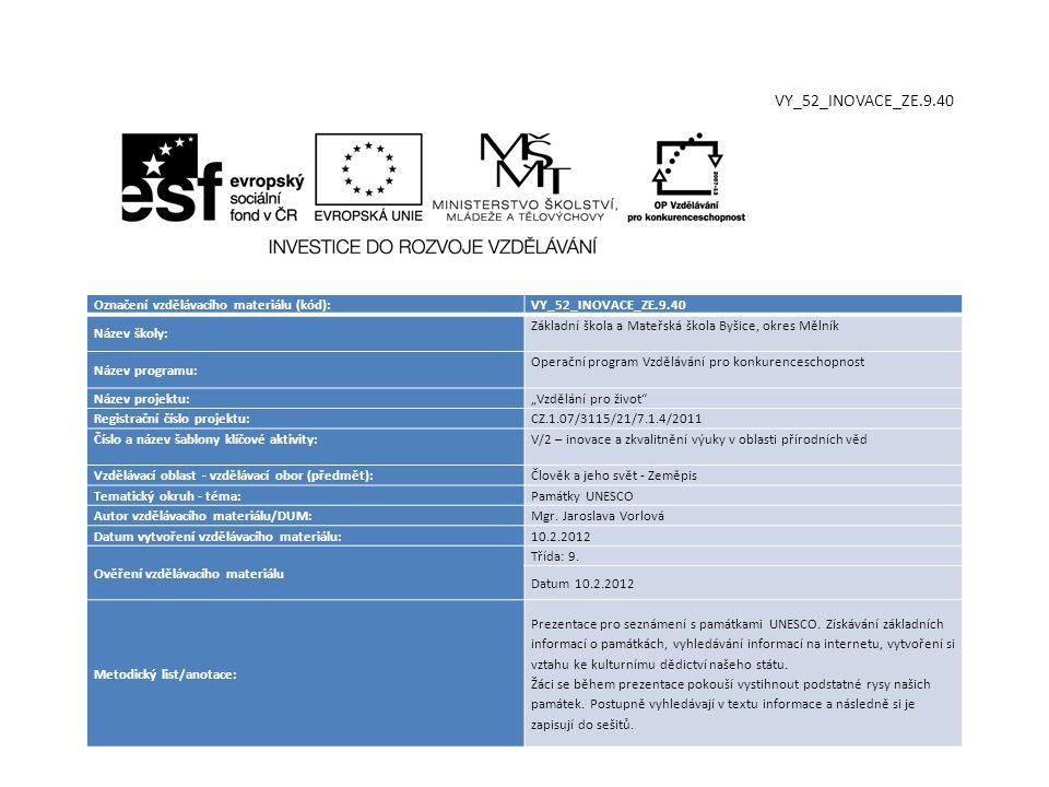 VY_52_INOVACE_ZE.9.40 Označení vzdělávacího materiálu (kód):