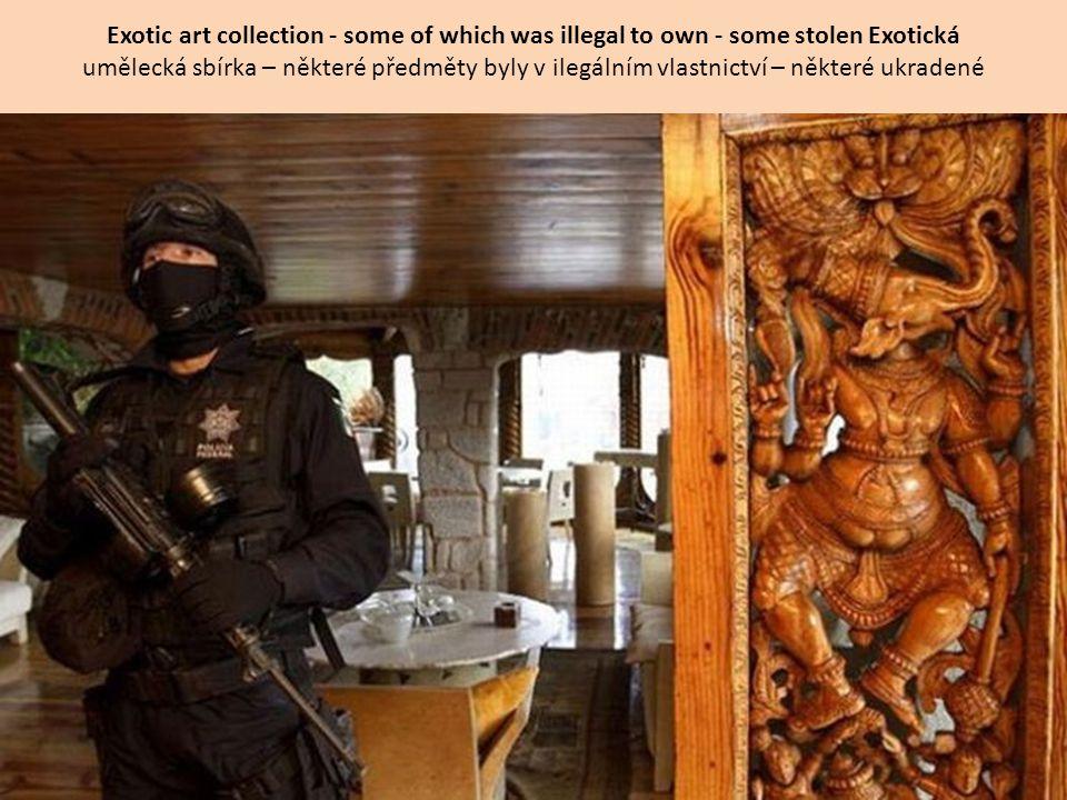 Exotic art collection - some of which was illegal to own - some stolen Exotická umělecká sbírka – některé předměty byly v ilegálním vlastnictví – některé ukradené