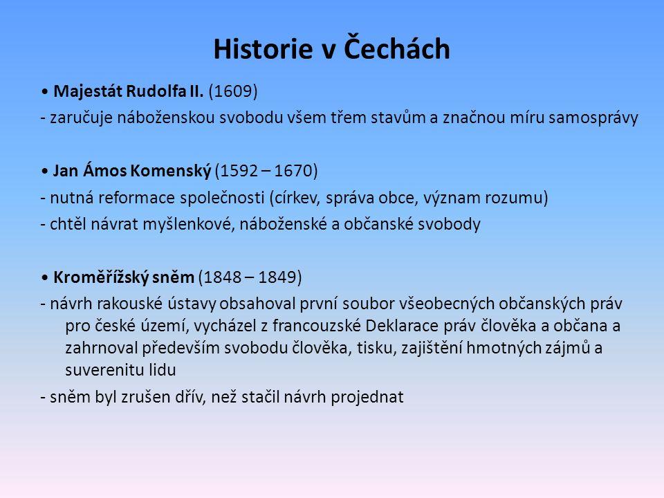 Historie v Čechách • Majestát Rudolfa II. (1609)