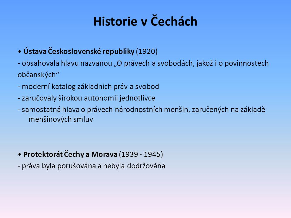 Historie v Čechách • Ústava Československé republiky (1920)