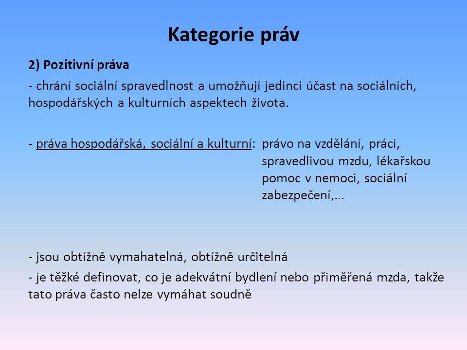Kategorie práv 2) Pozitivní práva