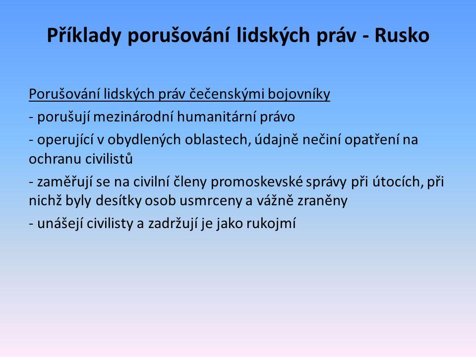 Příklady porušování lidských práv - Rusko