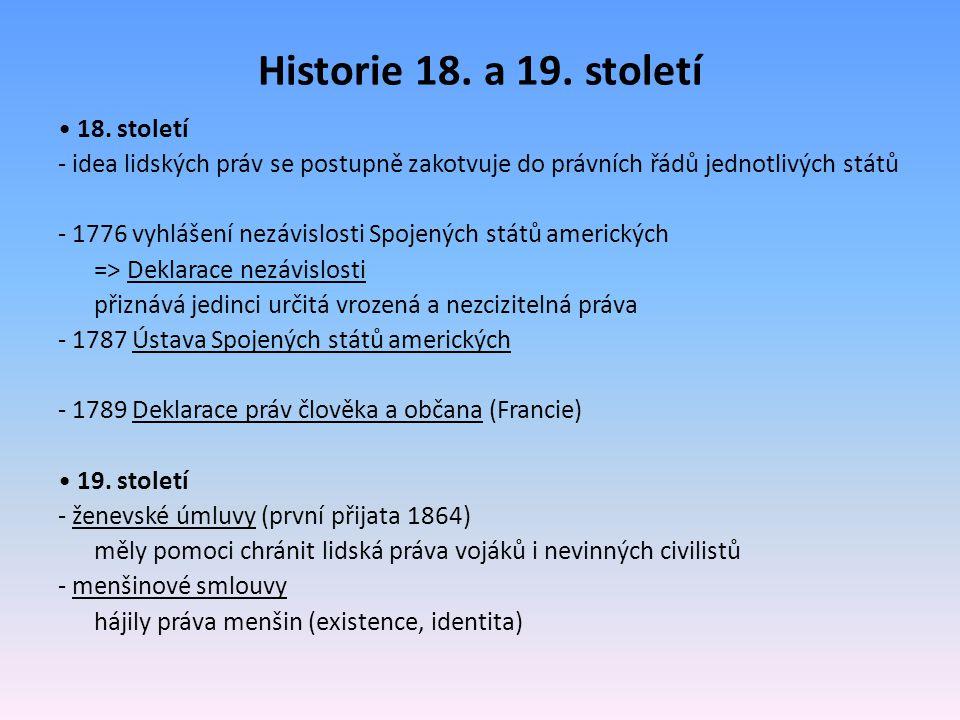Historie 18. a 19. století • 18. století