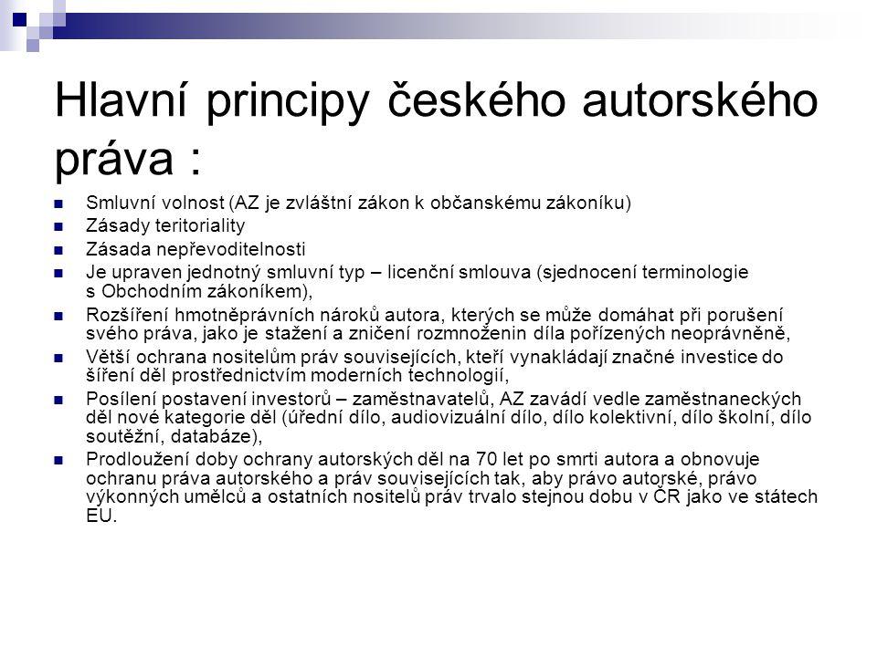 Hlavní principy českého autorského práva :