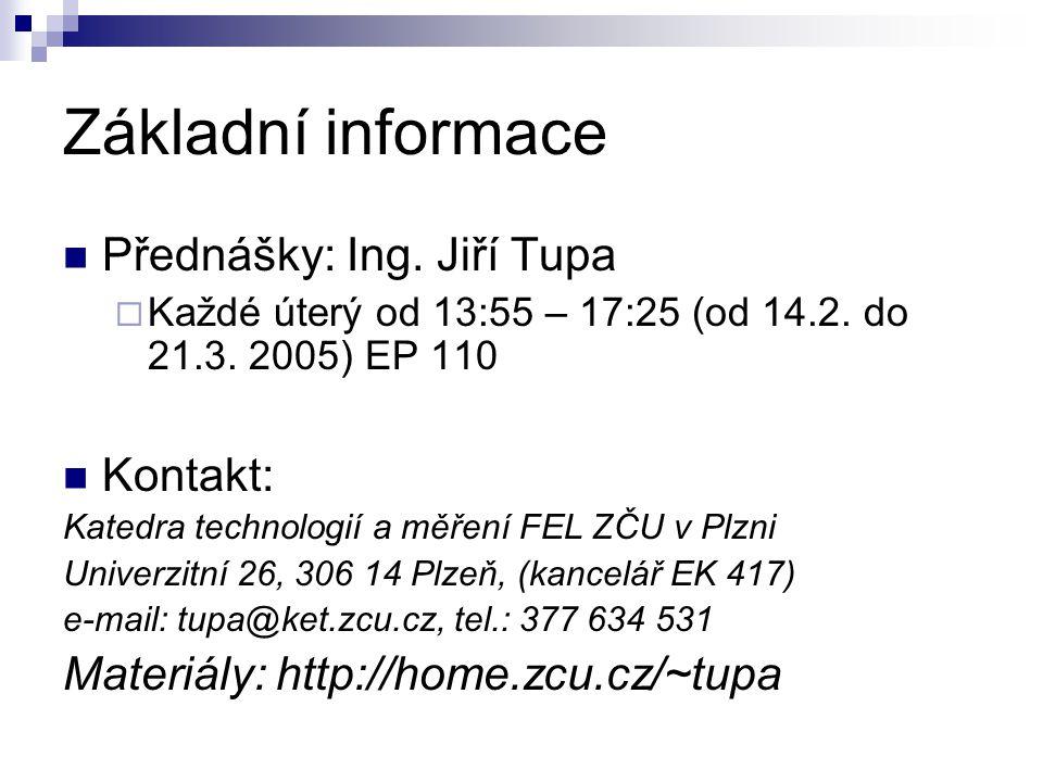 Základní informace Přednášky: Ing. Jiří Tupa Kontakt:
