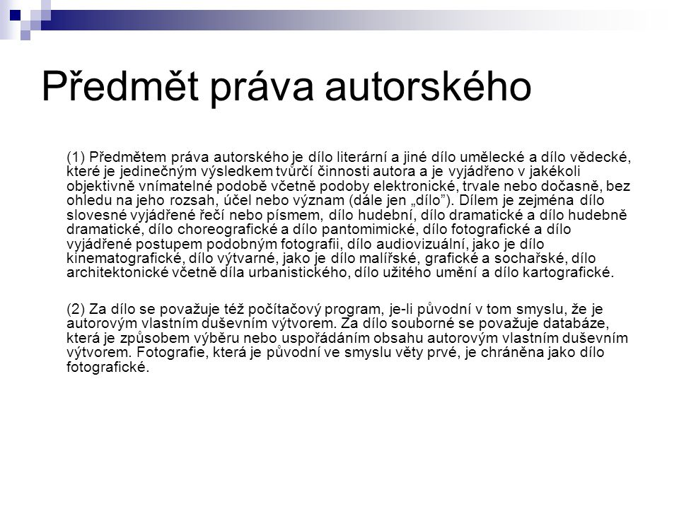 Předmět práva autorského
