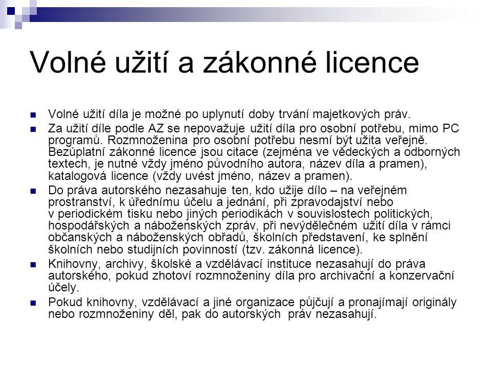 Volné užití a zákonné licence