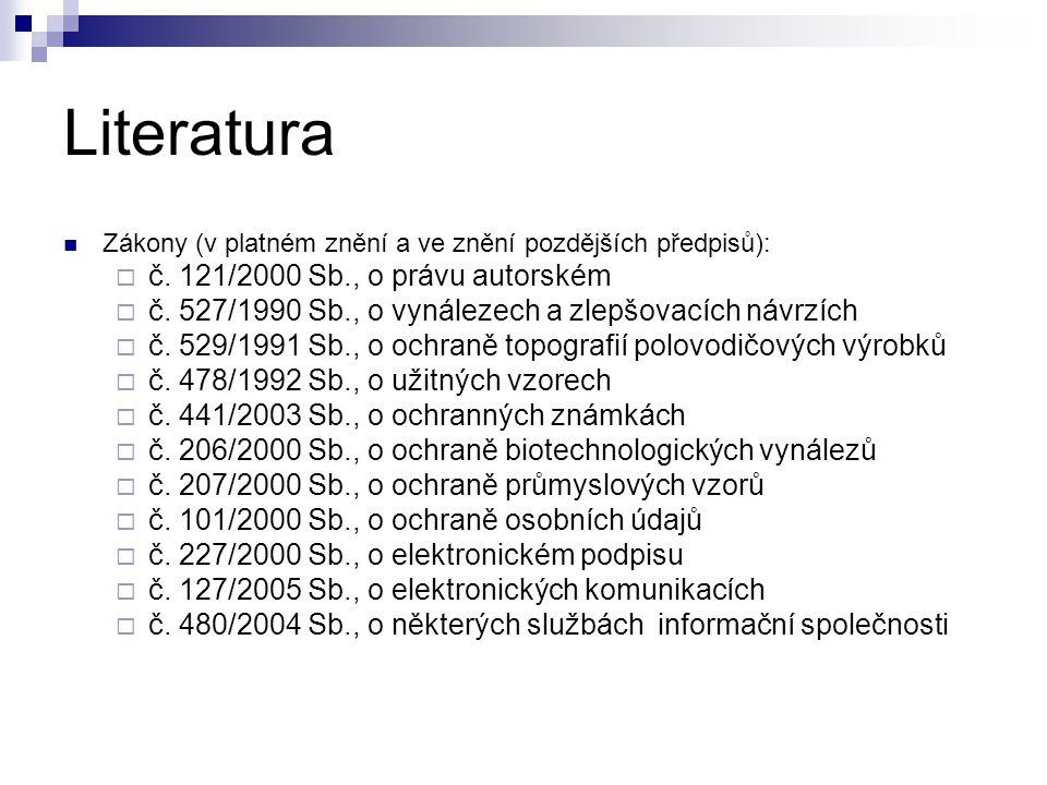 Literatura č. 121/2000 Sb., o právu autorském