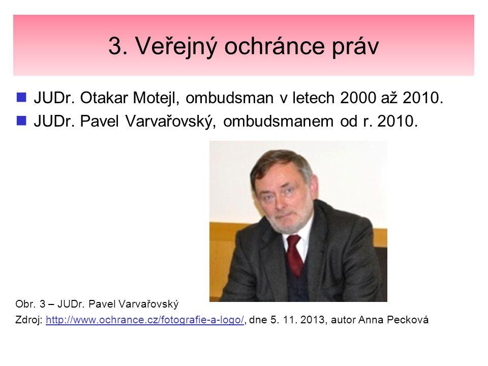 3. Veřejný ochránce práv JUDr. Otakar Motejl, ombudsman v letech 2000 až 2010. JUDr. Pavel Varvařovský, ombudsmanem od r. 2010.