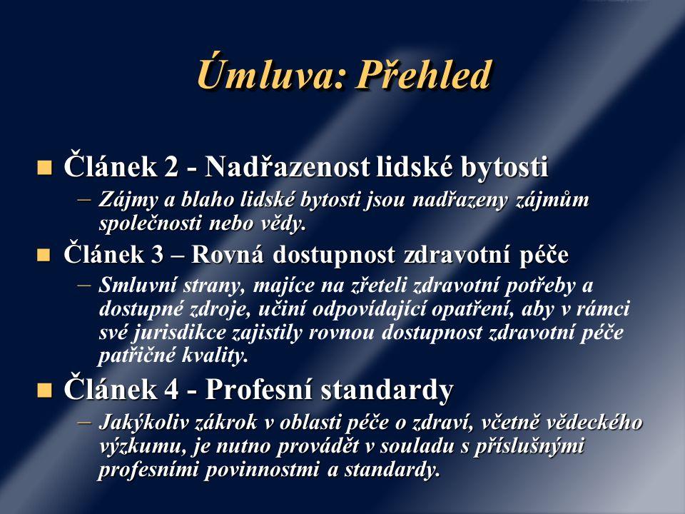 Úmluva: Přehled Článek 2 - Nadřazenost lidské bytosti