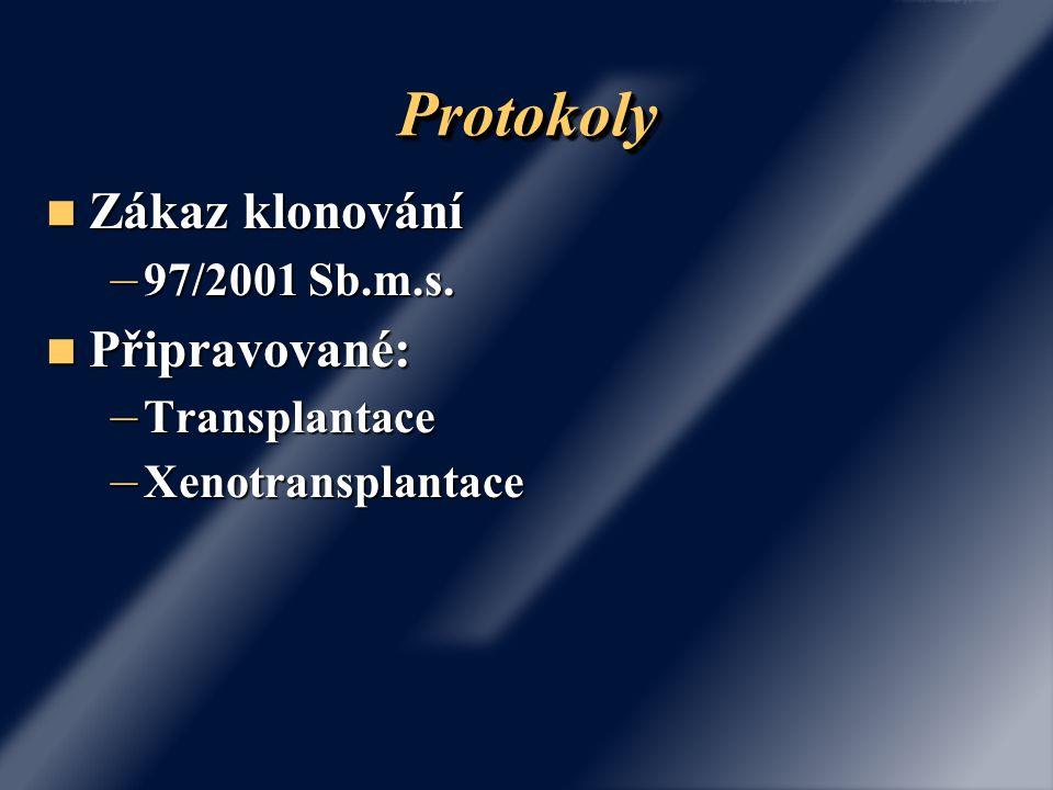 Protokoly Zákaz klonování Připravované: 97/2001 Sb.m.s. Transplantace