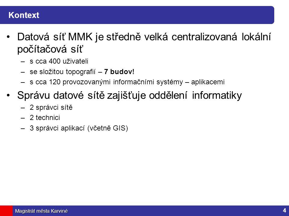 Datová síť MMK je středně velká centralizovaná lokální počítačová síť
