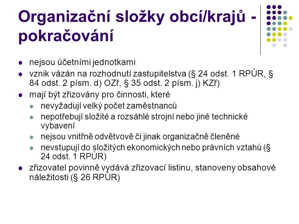 Organizační složky obcí/krajů - pokračování