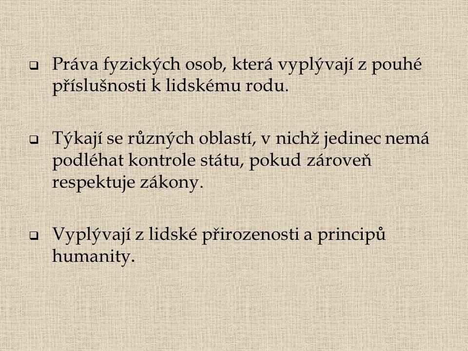 Práva fyzických osob, která vyplývají z pouhé příslušnosti k lidskému rodu.