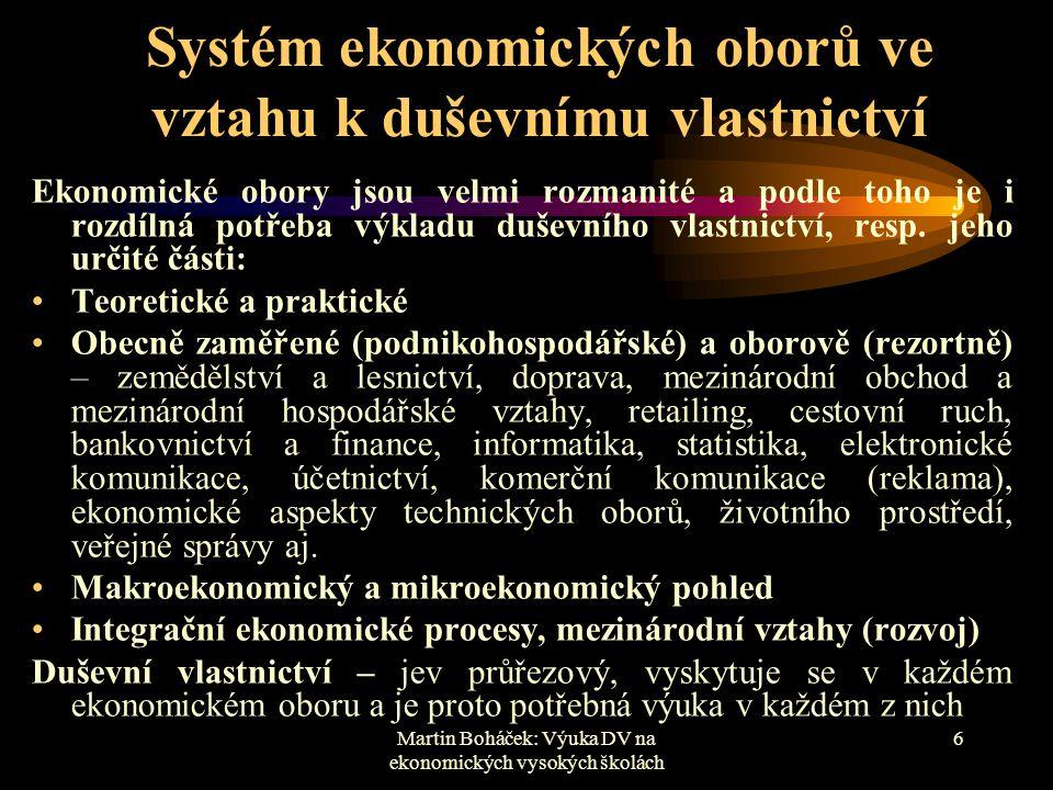 Systém ekonomických oborů ve vztahu k duševnímu vlastnictví