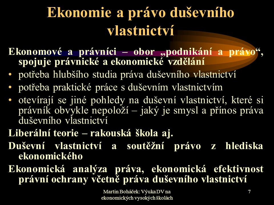 Ekonomie a právo duševního vlastnictví