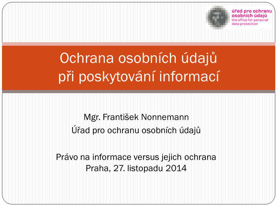 Ochrana osobních údajů při poskytování informací