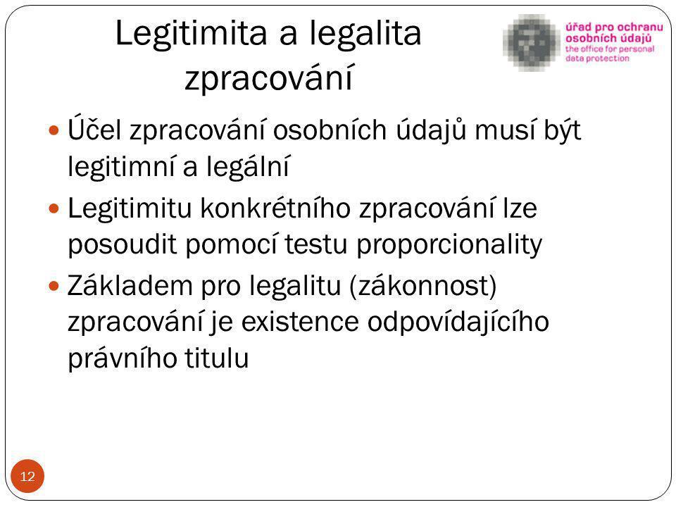 Legitimita a legalita zpracování