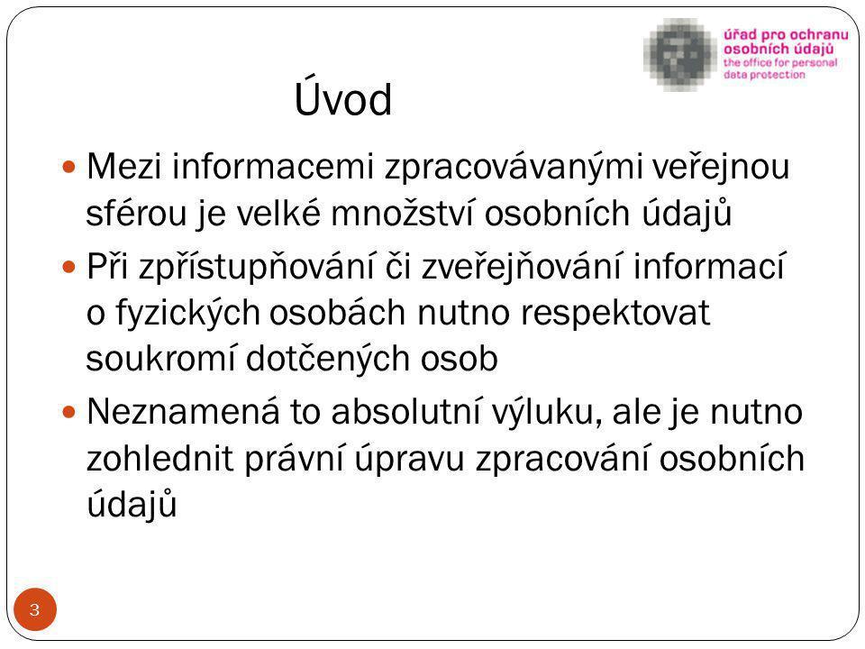 Úvod Mezi informacemi zpracovávanými veřejnou sférou je velké množství osobních údajů.
