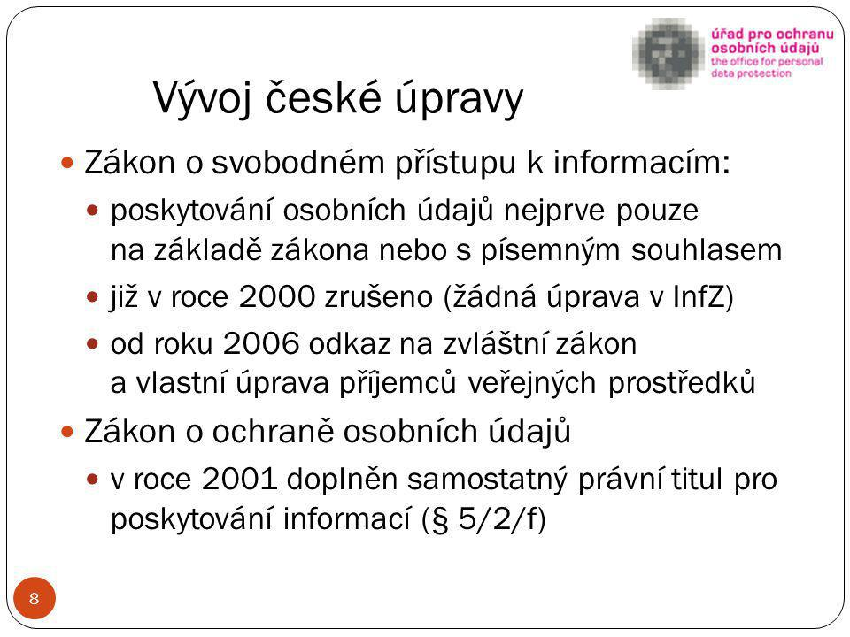Vývoj české úpravy Zákon o svobodném přístupu k informacím: