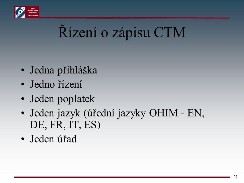 Řízení o zápisu CTM Jedna přihláška Jedno řízení Jeden poplatek