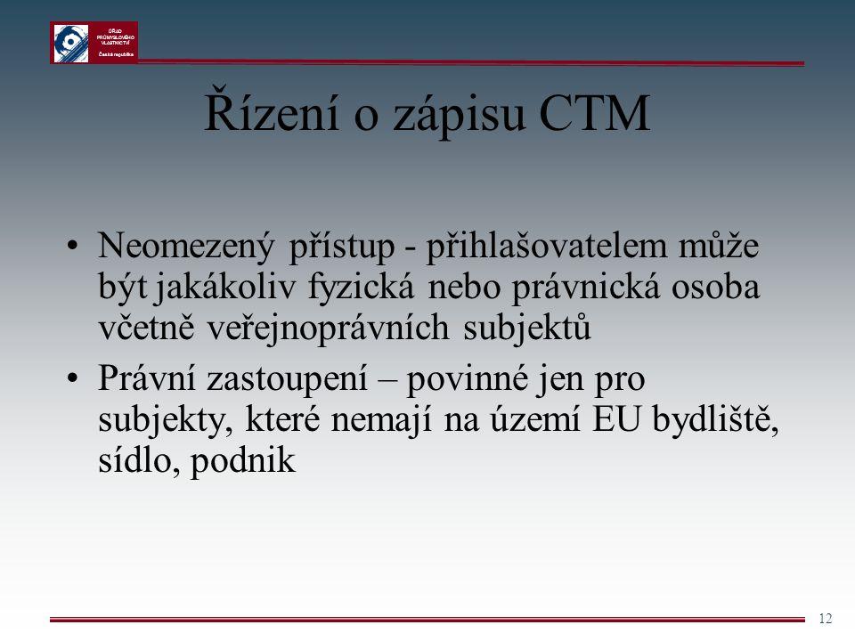 Řízení o zápisu CTM Neomezený přístup - přihlašovatelem může být jakákoliv fyzická nebo právnická osoba včetně veřejnoprávních subjektů.