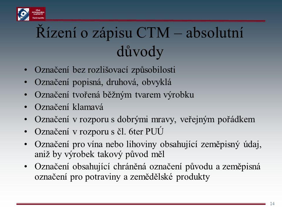 Řízení o zápisu CTM – absolutní důvody