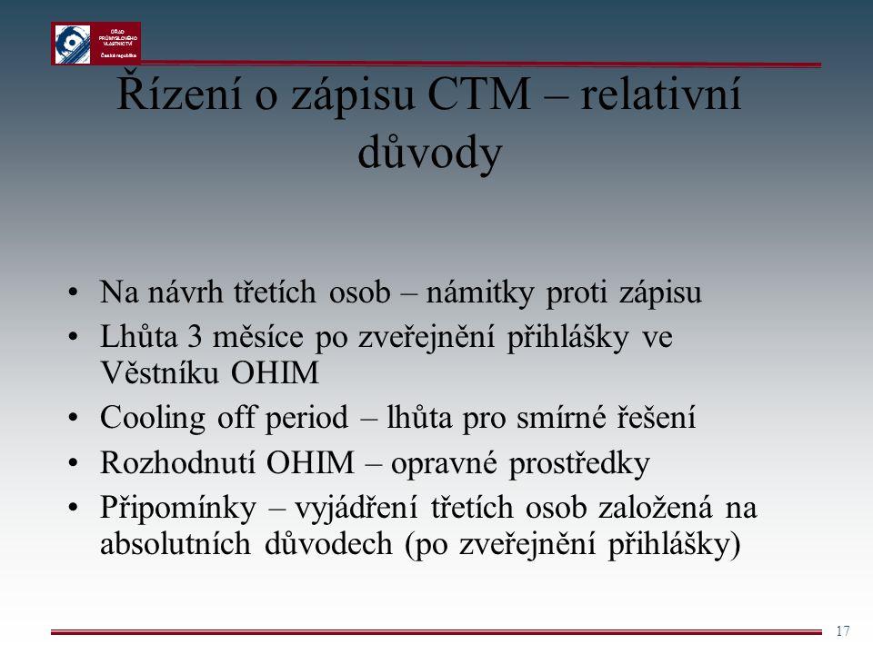 Řízení o zápisu CTM – relativní důvody