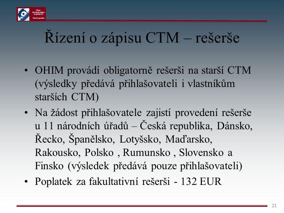 Řízení o zápisu CTM – rešerše