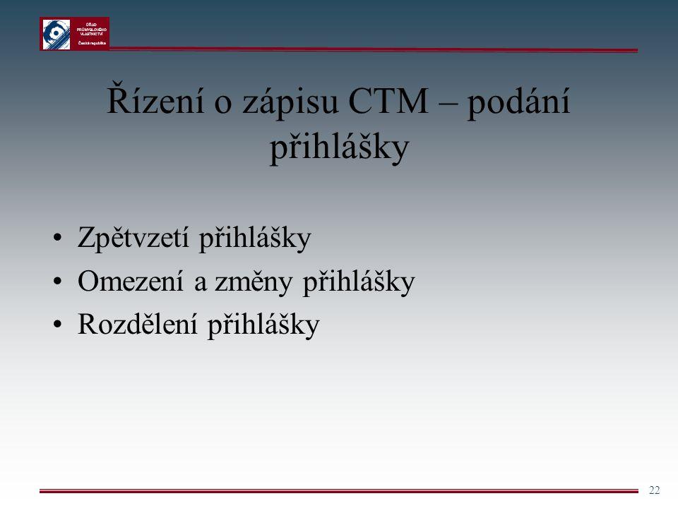 Řízení o zápisu CTM – podání přihlášky