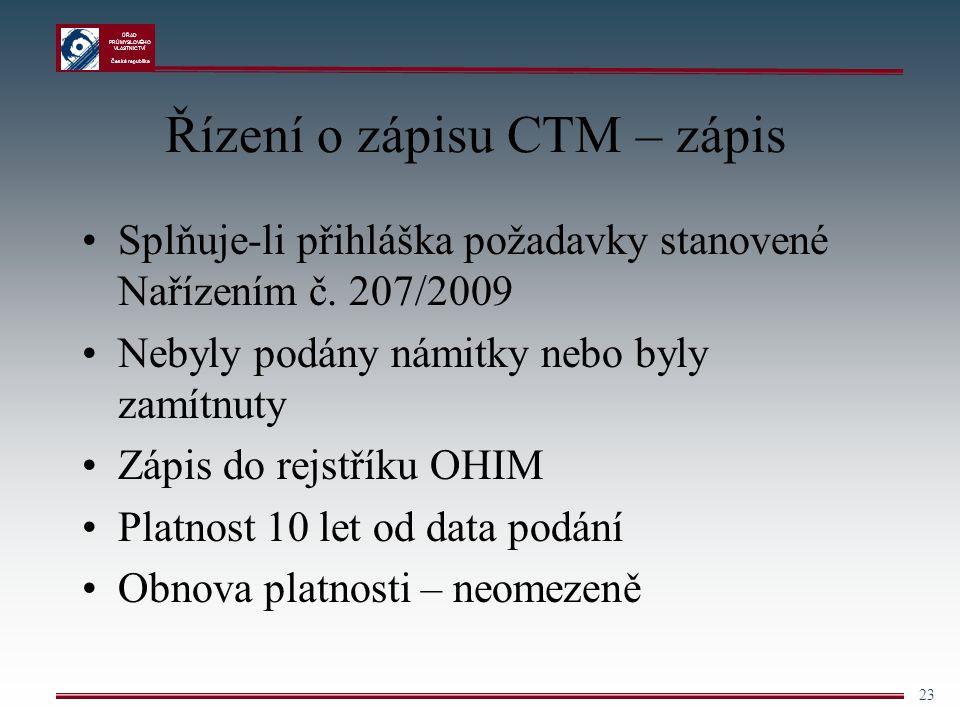 Řízení o zápisu CTM – zápis