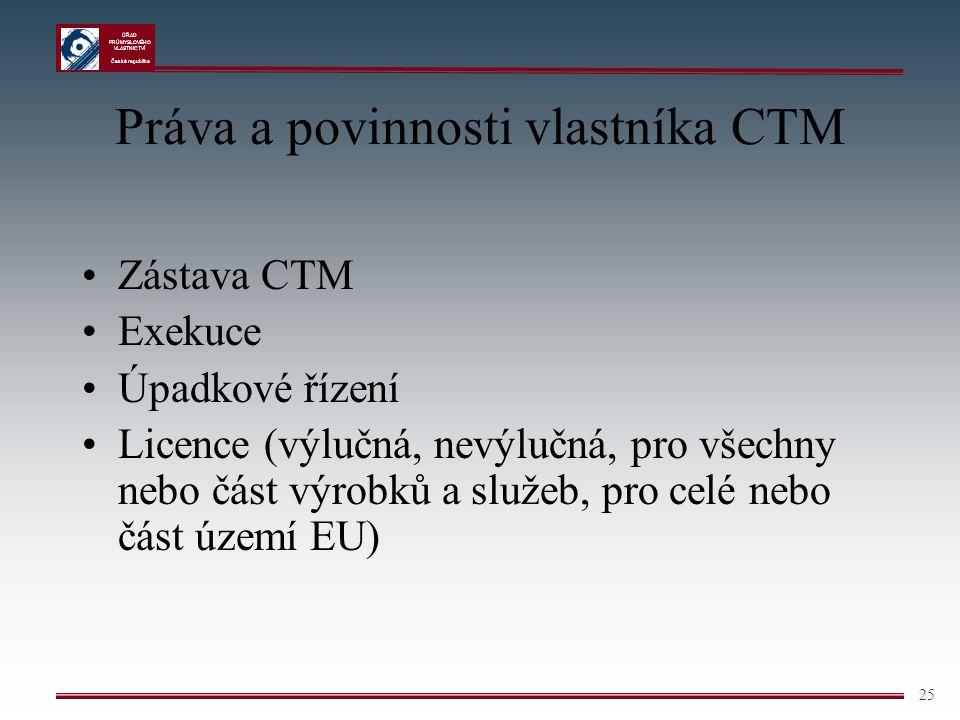 Práva a povinnosti vlastníka CTM