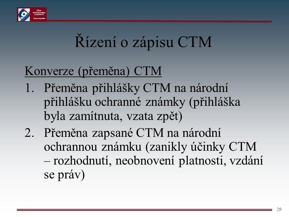Řízení o zápisu CTM Konverze (přeměna) CTM
