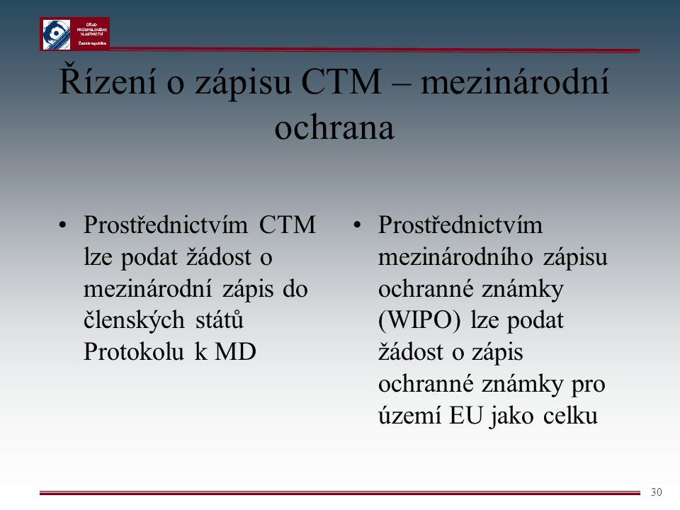 Řízení o zápisu CTM – mezinárodní ochrana