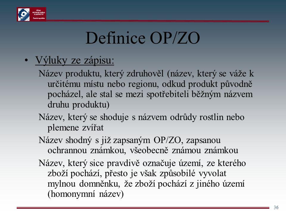 Definice OP/ZO Výluky ze zápisu: