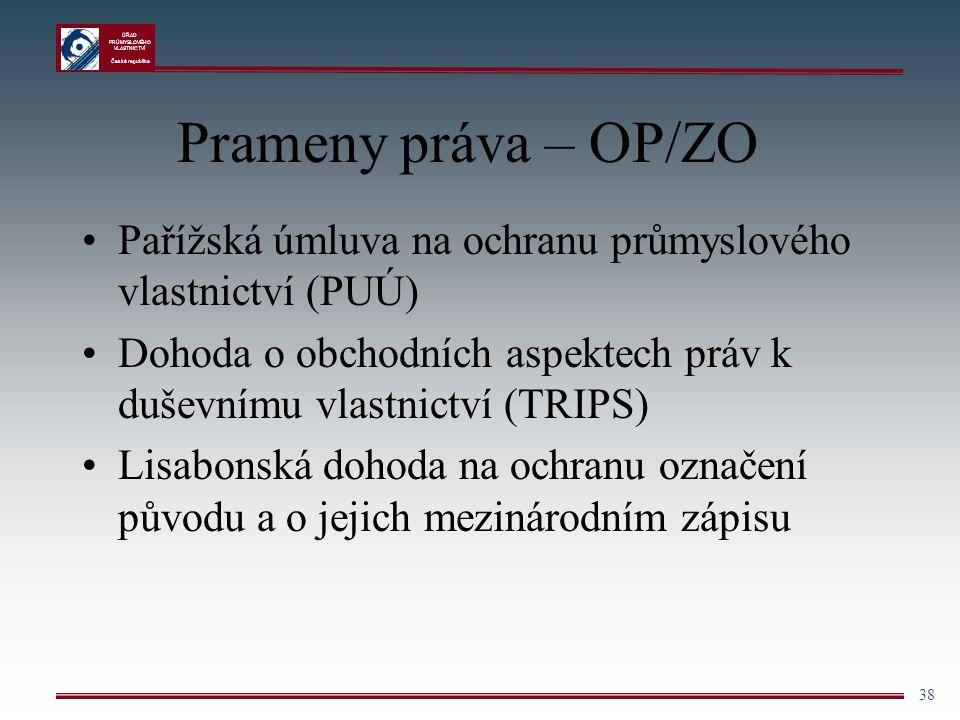 Prameny práva – OP/ZO Pařížská úmluva na ochranu průmyslového vlastnictví (PUÚ) Dohoda o obchodních aspektech práv k duševnímu vlastnictví (TRIPS)