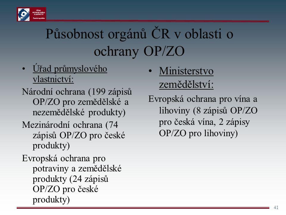 Působnost orgánů ČR v oblasti o ochrany OP/ZO