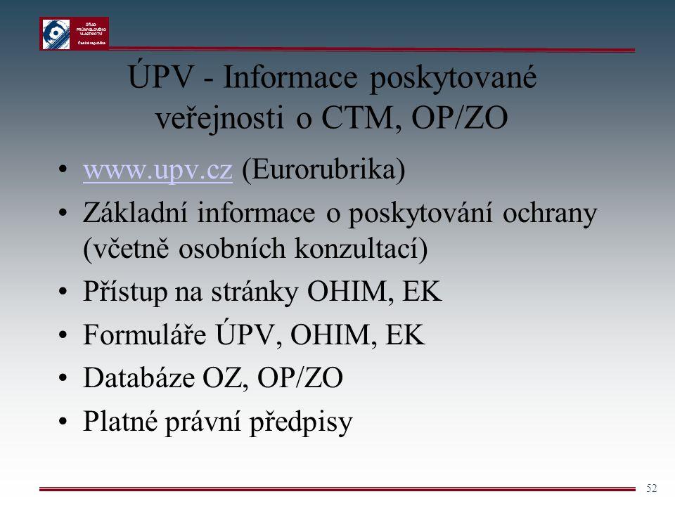 ÚPV - Informace poskytované veřejnosti o CTM, OP/ZO