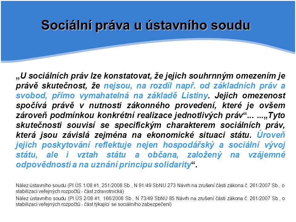 Sociální práva u ústavního soudu