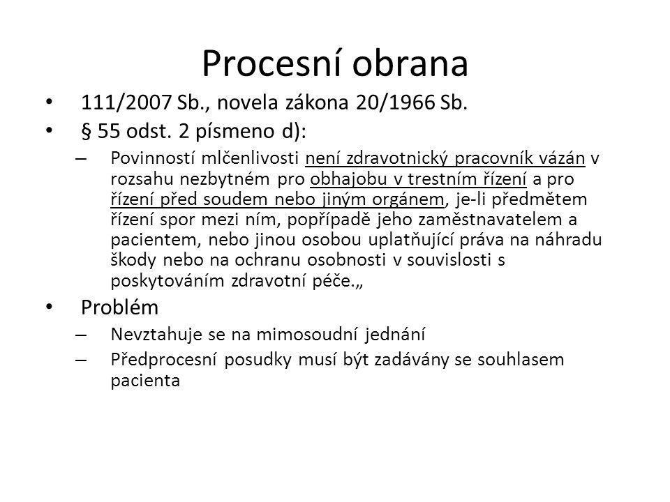 Procesní obrana 111/2007 Sb., novela zákona 20/1966 Sb.