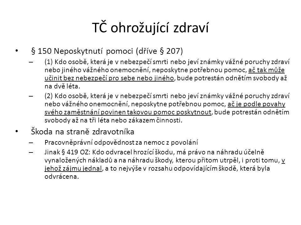 TČ ohrožující zdraví § 150 Neposkytnutí pomoci (dříve § 207)
