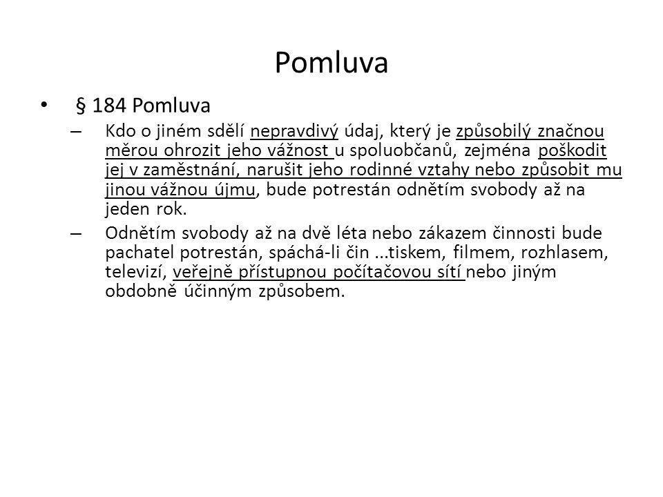 Pomluva § 184 Pomluva.