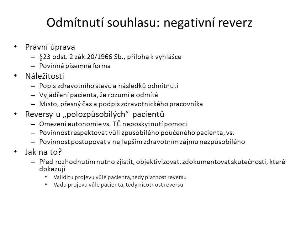 Odmítnutí souhlasu: negativní reverz