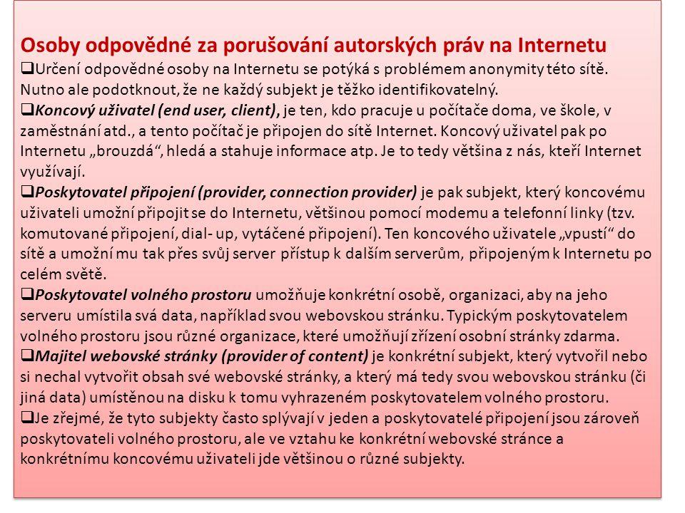 Osoby odpovědné za porušování autorských práv na Internetu