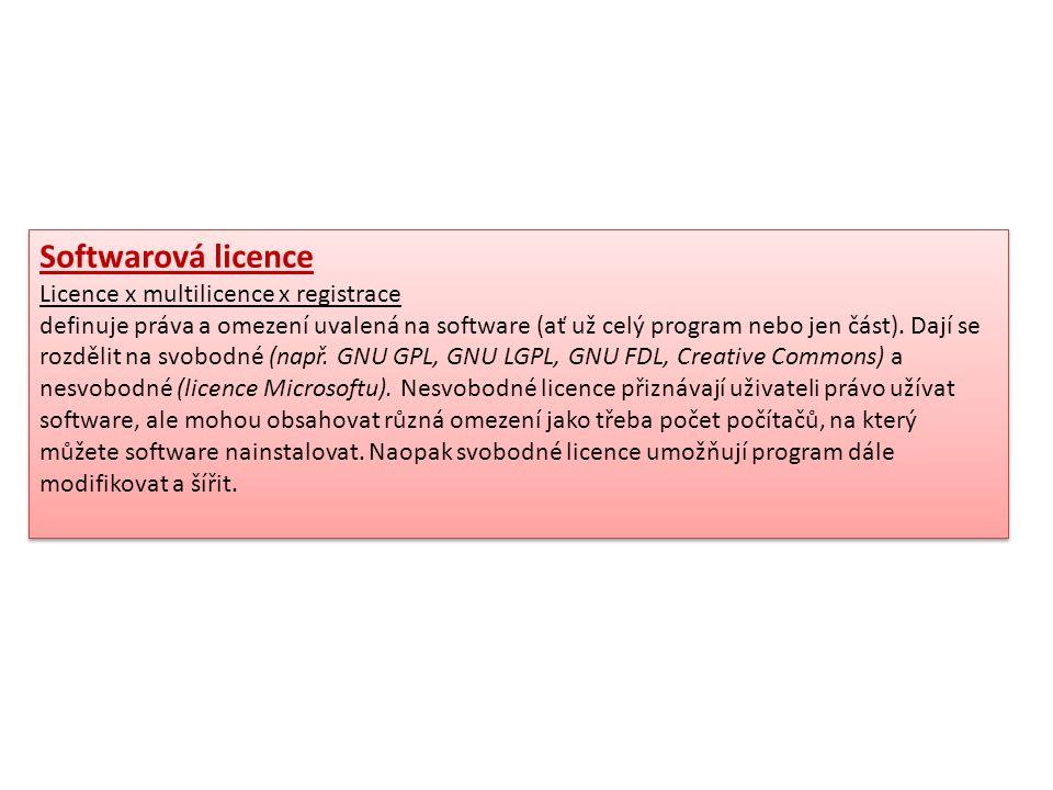 Softwarová licence Licence x multilicence x registrace