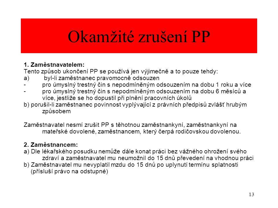 Okamžité zrušení PP 1. Zaměstnavatelem: